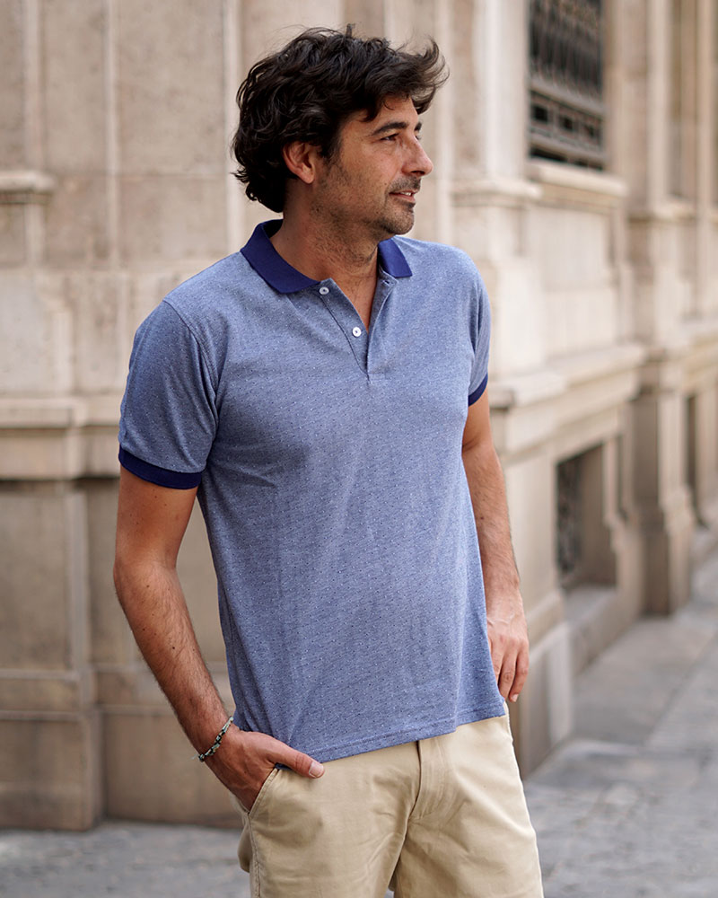 Polo Estampado Azul